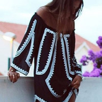 Geo Off Shoulder Shift Dress