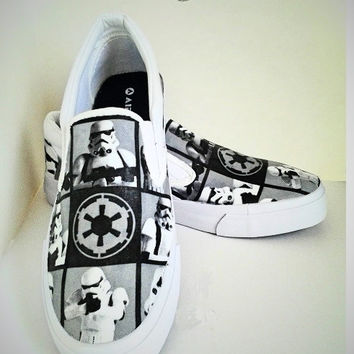 SALE-Stormtrooper Selfie-Star Wars-Black and Grey-Men Slipon shoes-Custom shoes-Fanart-Cosplay-Imperial-Dark Side