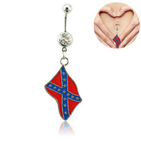 316L Surgical Steel and Star Gem Belly Ring with Epoxy Rebel Flag Dangle (With Thanksgiving&Christmas Gift Box)= 1946476804