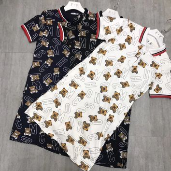 """Moschino"" Women Casual Fashion Lapel Cute Cartoon Bear Letter Print Short Sleeve Polo Shirt Dress"