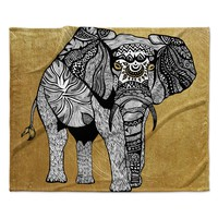 "Pom Graphic Design ""Golden Elephant"" Fleece Throw Blanket"