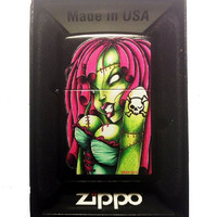 Zippo Custom Lighter - Sexy Zombie Scary BIG Boobs Hot Babe Chick Skull Cross Bones Tattoo Black Licorice Finish Rare! 218CI012568