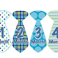 Monthly Onesuit Stickers Baby Month Stickers Baby Boy Blue Green Tie Stickers Monthly Boy Stickers Baby Shower Gift Photo Prop Eddie