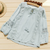 lacing thin loose  pullover cute  shirt Fluid long-sleeve top  lace patchwork shirt collar