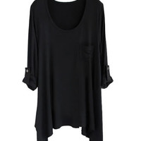 *Free Shipping* Women Cotton Black Loose Top HT10000b from efoxcity