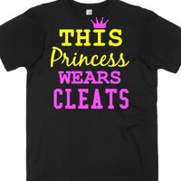 Soccer Softball Princess Wears Cleats tee t shirt-Black T-Shirt