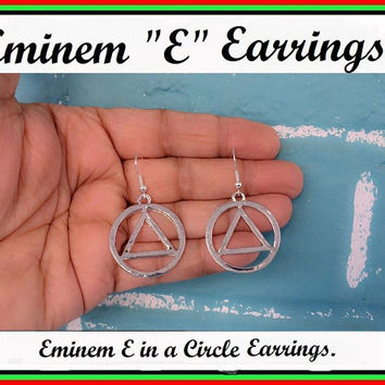 EMINEM Inspired E in a CIRCLE Silver Earrings.
