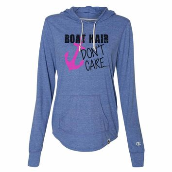 Boat Hair Don't Care - Womens Champion Brand Hoodie - Hooded Sweatshirt