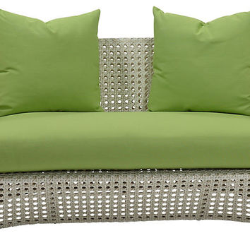 "Beach 60"" Sunbrella Loveseat, Green - Outdoor 