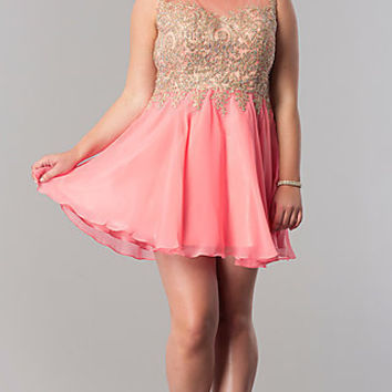 Chiffon Plus-Size Short Homecoming Party Dress