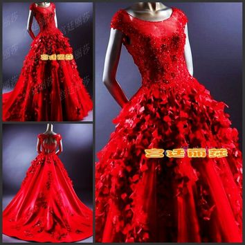 Elegant Luxuriously Beaded Red Ruffles  Backless Wedding Dress