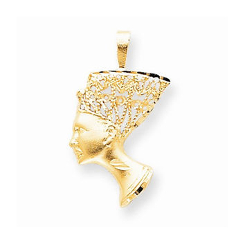 Solid 10k Yellow Gold Egyptian Head Pendant
