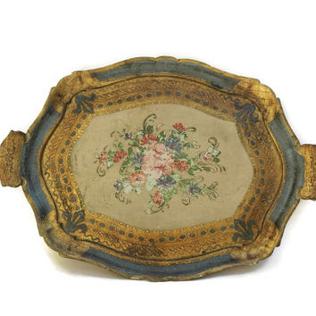 Florentine Tray. Hand Painted Flower Seving Tray. Green and Gold Tray.