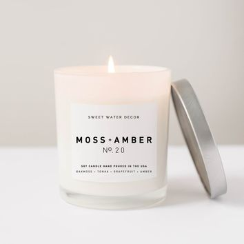 Moss + Amber Soy Candle | White Jar Candle