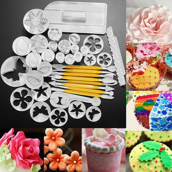 Sale 12 Sets 37pcs Fondant Cake Decorating Tools Cookie Sugar Craft Decorate Plunger Cutters Tools Cake Decorating Set DIY Cake
