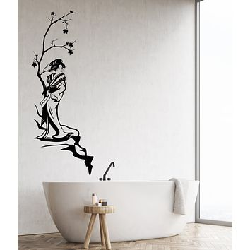 Vinyl Wall Decal Asian Style Japanese Woman Geisha Maple Tree Stickers (3927ig)