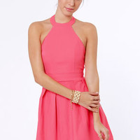 Floating on Flare Pink Halter Dress