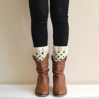 Cream Boot Socks, Boot Cuffs, Boot Toppers, Leg Warmers, Ankle Warmers