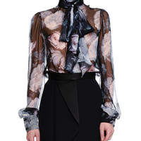 Alexander McQueen Midnight Bloom-Print Tie-Neck Blouse & High-Waist Fold-Pleated Skirt