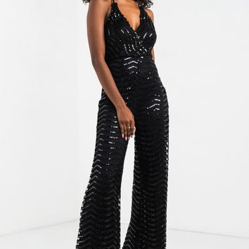 AKIRA Halter Neck Tie Plunging Crochet Sequin Jumpsuit in Black