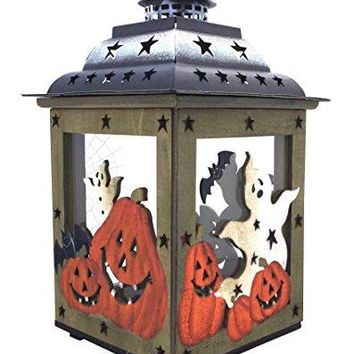 Halloween Candle Lantern with Pumpkins, Spooky Ghosts, Spider Webs – Large Rustic, Hand Painted Wood and Glass Decorative Candle Holder, Standing or Hanging by Clovers Garden