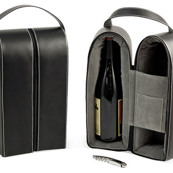 Leather 2-Bottle Wine Carrier, Black, Tea & Coffee Pots