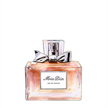 Miss Dior Eau de Parfum Bottle Colorful Fashion Illustration Fine Art Print