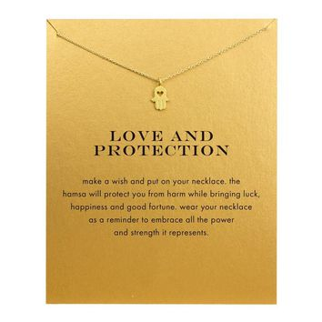 Jewelry gold silver plated Fatima hand palm love heart simple short chain necklace for women