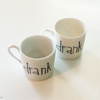 drank - pair of espresso/shot glasses - set of two (2) ready to ship