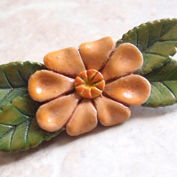 Hand Carved Flower Leaves Brooch Folk Art Vintage 083013MF