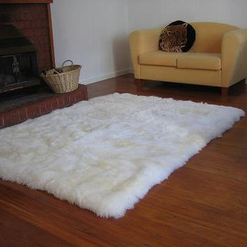 $149.00 Shaggy White Faux Fur Sheep Skin Accent Rug 5'x7' by NotTooShaggy