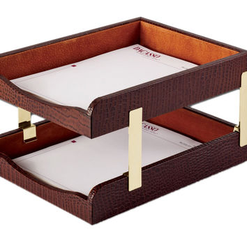 Dacasso Office Organization Paper Document Mail Storage Desktop Decorative Brown Crocodile Embossed Leather Double Letter Trays