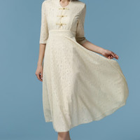 Long-Sleeve Hippest Retro Vintage Maxi Dress