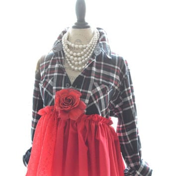 Plus size fannel shirt, Shabby country chic women's ruffle top, Romantic cottage chic clothes, boho clothing, black red, True rebel clothing