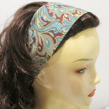 Reversible Wide Fabric Headband Turquoise Paisley on Brown Wrap Around Headband