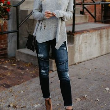 Light Grey Cut Out Irregular Lacerated Round Neck Long Sleeve Slouchy Pullover Sweater