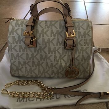 MICHAEL Michael Kors Medium Grayson Vanilla MK LOGO Satchel Bag