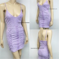 Sexy V Neck Lace Up Lavender Purple Suede Luxury Party Night Club Dress