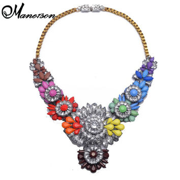 2015 New Arrival Luxury Shourouk Necklace Choker Statement Necklaces Crystal Flower Necklaces & Pendants B212
