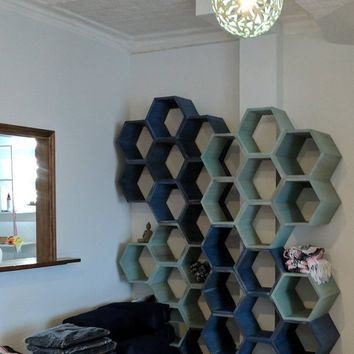 Hexagon shelves, honeycomb shelves, retail display, wall art, office decor, bookshelf, spa decor, kitchen cabinet, cubby shelf, yoga studio
