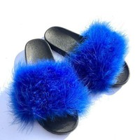 Royal Blue Faux Fur Slippers