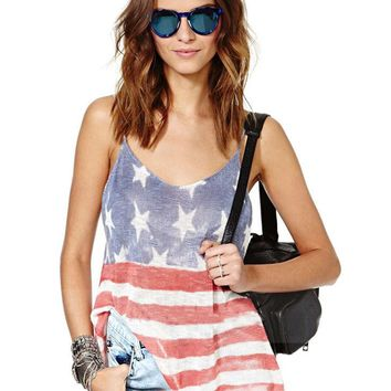 Open Back American Flag Striped Us Print Women Casual Strappy Top Loose Fitness Girl Vest Summer Loose Oversized T Shirt T-Shirt