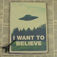 X FILES I WANT TO BELIEVE  Vintage  Poster Wall Paper Home Decor Cuadro Art   Painting Mix Order 42x30CM  H-172