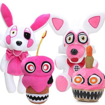 White Freddy Fazbear 25-38cm  at  Nightmare Cupcake Plush Toys Reversible  Funtime Foxy The Mangle Dolls