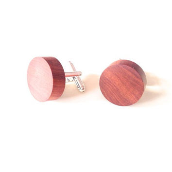 Handmade lathed Padauk wood cufflinks, exotic wood, wood accessories, Mukwa wood, Narra wood, red wood