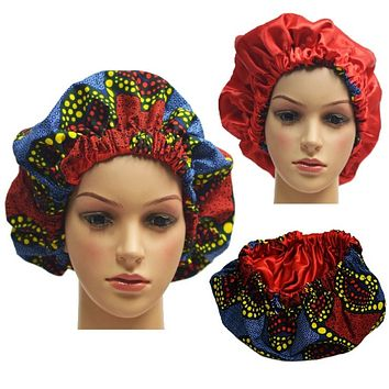 Yellow And Red African Print Silk Hair Bonnet