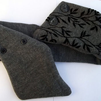 Neck warmer slate grey winter accessory buttoned scarflette handmade