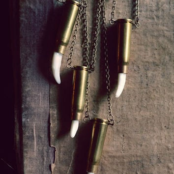 Unisex COYOTE Canine Tooth in 39mm Bullet Necklace