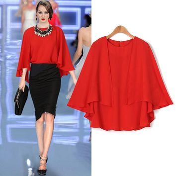 Summer New Style Women's Clothing Loose Sleeve Chiffon Shirt Solid Color Tops