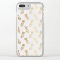 Gold Pineapple Pattern Clear iPhone Case by Tanyadraws